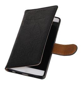 Washed Leer Bookstyle Hoes voor Huawei P9 Lite mini Zwart