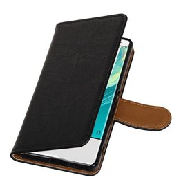 Washed Leather Bookstyle Case for Sony Xperia XA Black