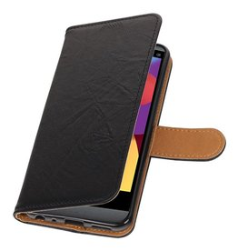 Washed Leather Bookstyle Case for LG Q8 Black