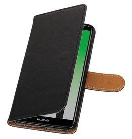 Pull Up PU Leder Bookstyle für Huawei P20 Schwarz