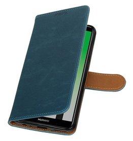 Pull Up PU Leder Bookstyle für Huawei P20 Blau