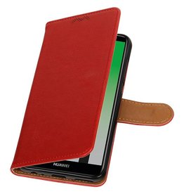 Pull Up PU Leder Bookstyle für Huawei P20 Rot