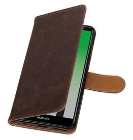 Pull Up PU Leder Bookstyle für Huawei P20 Mocca
