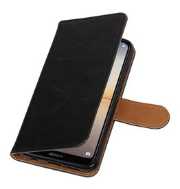 Pull Up PU Leder Bookstyle voor Huawei P20 Lite Zwart