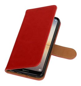 Pull Up PU Leather Bookstyle for Huawei P20 Lite Red