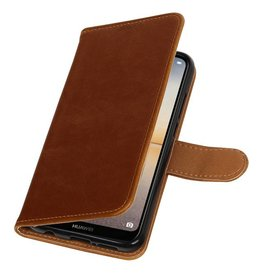 Pull Up PU Leather Bookstyle for Huawei P20 Lite Brown