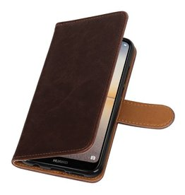 Pull Up PU Leder Bookstyle voor Huawei P20 Lite Mocca