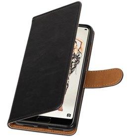 Pull Up PU Leder Bookstyle für Huawei P20 Pro Schwarz