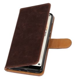 Pull Up PU Leder Bookstyle voor Huawei P20 Pro Mocca