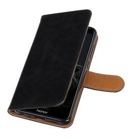 Pull Up PU Leder Bookstyle voor Huawei P Smart Zwart