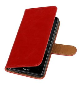 Pull Up PU Leather Bookstyle for Huawei P Smart Red