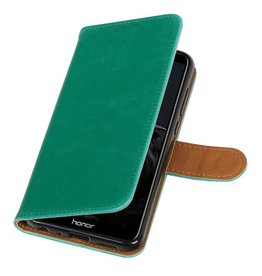 Pull Up PU Leder Bookstyle für Huawei P Smart Green