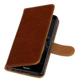 Pull Up PU Leder Bookstyle voor Huawei P Smart Bruin