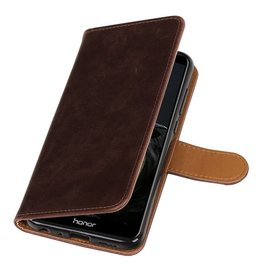 Pull Up PU Leder Bookstyle voor Huawei P Smart Mocca
