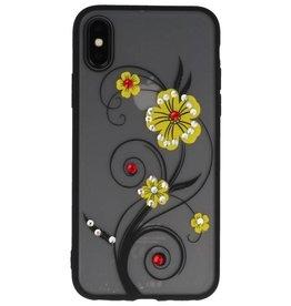 Diamand Lilien-Kästen für iPhone X Gelb