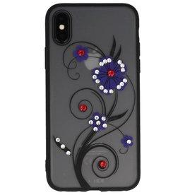 Diamand Lilien-Hüllen für iPhone X purpurrot