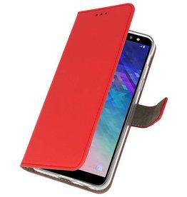 Bookstyle Wallet Cases Tasche für Galaxy A6 2018 Rot