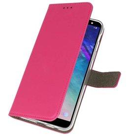 Bookstyle Wallet Cases Hoesje voor Galaxy A6 2018 Roze