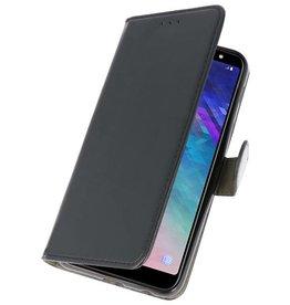Bookstyle Wallet Cases Tasche für Galaxy A6 Plus 2018 Schwarz