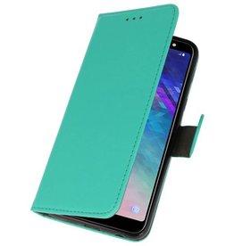 Bookstyle Wallet Cases Hülle für Galaxy A6 Plus 2018 Grün