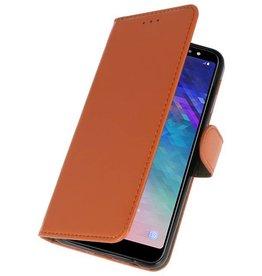 Bookstyle Wallet Cases Tasche für Galaxy A6 Plus 2018 Braun