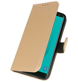Bookstyle Wallet Cases Hoesje voor Galaxy J6 2018 Goud