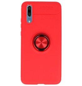 Softcase voor Huawei P20 Hoesje met Ring Houder Rood