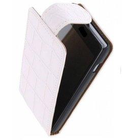Croco Classic Flip Case for Galaxy S3 mini i8190 White