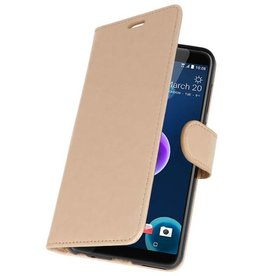 Wallet Cases Hoesje voor HTC Desire 12 Goud