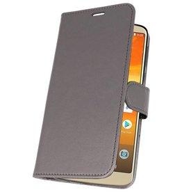Wallet Cases Hoesje voor Moto E5 Plus Grijs