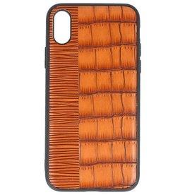 Croco Hartschalenetui für iPhone X Braun