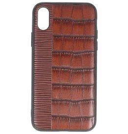 Croco Hard Case für iPhone X Dunkelbraun