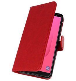 Bookstyle Wallet Cases Hoesje voor Galaxy J8 Rood