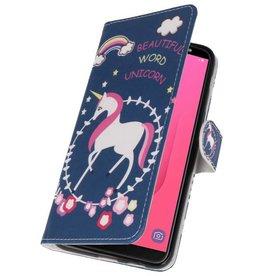 Blauw Unicorn Bookstyle Hoesje voor Galaxy J8