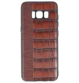 Croco Hartschalenetui für Samsung Galaxy S8 Dunkelbraun