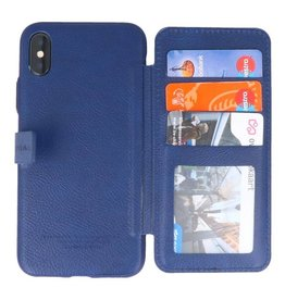 Back Cover Book Design Tasche für iPhone X Blau