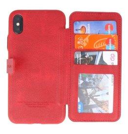 Back Cover Book Design Tasche für iPhone X Rot