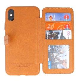 Back Cover Book Design Tasche für iPhone X Braun