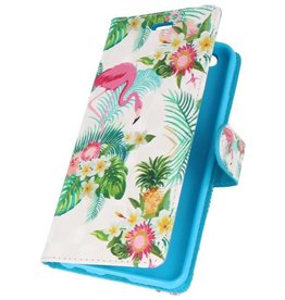 Bookstyle Case for Huawei P20 3D Print Flamingo