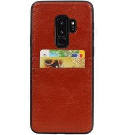Zurück Cover 2 Karten für Galaxy S9 Plus Braun