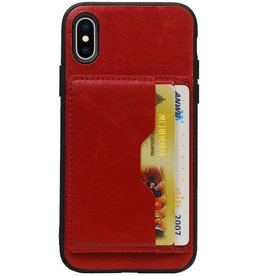 Staand Back Cover 2 Pasjes voor iPhone X Rood