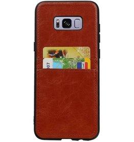 Back Cover 2 Karten für Galaxy S8 Plus Braun