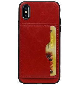 Staand Back Cover 1 Pasjes voor iPhone X Rood