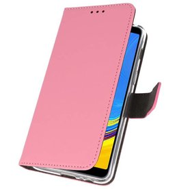 Wallet Cases Hülle für Galaxy A7 (2018) Pink