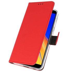 Wallet Cases Hoesje voor Galaxy J4 Plus Rood