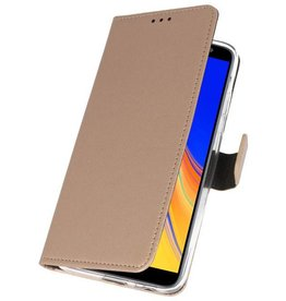 Wallet Cases Hoesje voor Galaxy J4 Plus Goud