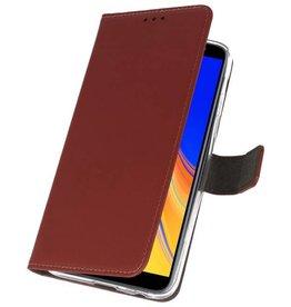 Wallet Cases Hoesje voor Galaxy J4 Plus Bruin