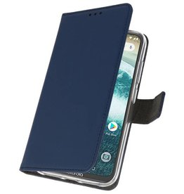 Wallet Cases Case for Moto One Power Navy