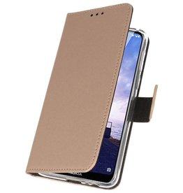 Wallet Cases Hoesje voor Nokia X6 6.1 Plus Goud