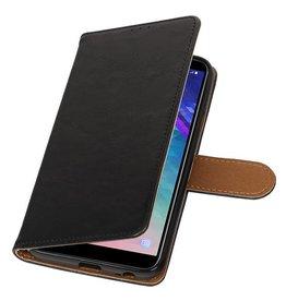 Pull Up Bookstyle voor Samsung Galaxy A6 2018 Zwart